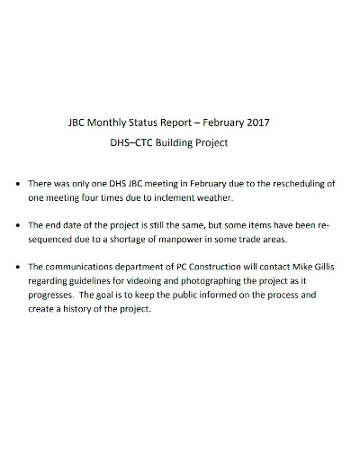monthly building project status report