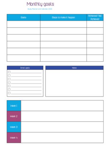 monthly goals study planner