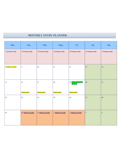 monthly holiday study planner