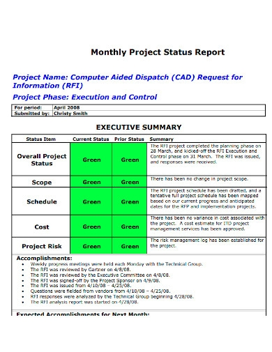 monthly project status report sample