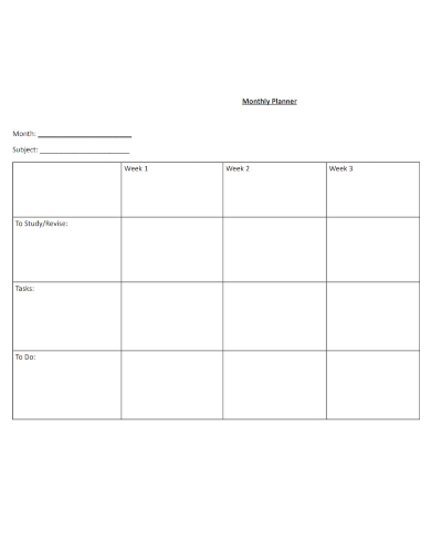 monthly timetable study planners
