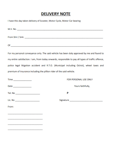 motor delivery note form