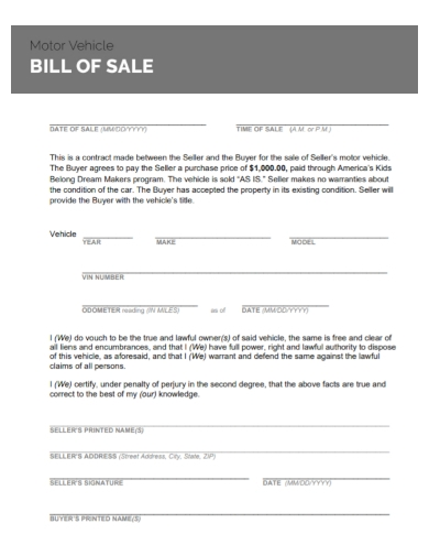 motor vehicle bill of sale contract