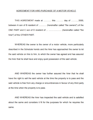 motor vehicle hire purchase agreement