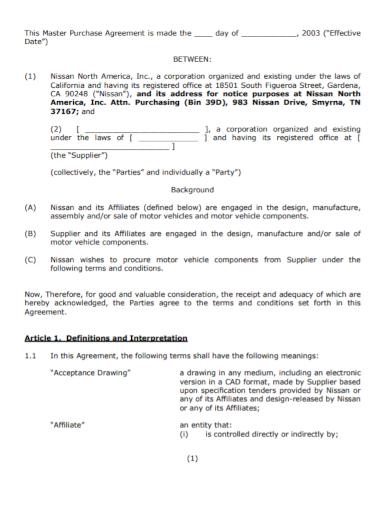 motor vehicle master purchase agreement
