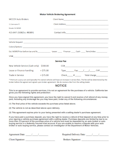 motor vehicle purchase brokering agreement