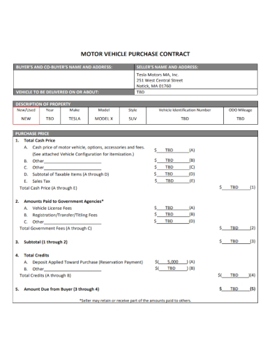 motor vehicle purchase contract