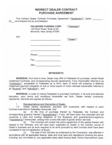 motor vehicle purchase dealer contract