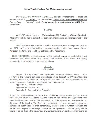 motor vehicle purchase maintenance agreement