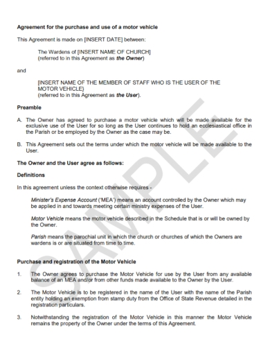 motor vehicle purchase registration agreement