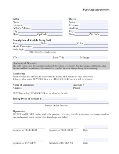 motor vehicle seller purchase agreement