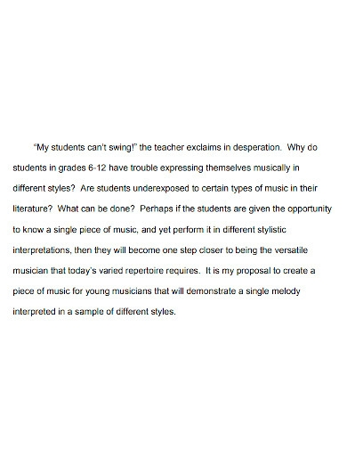 music education project proposal