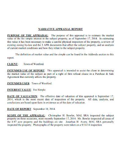 narrative appraisal report