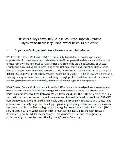 narrative dance grant proposal