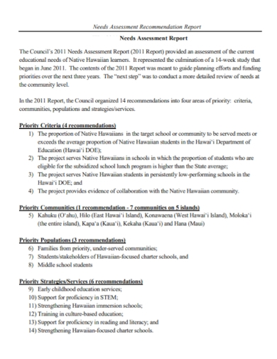 needs assessment recommendation report