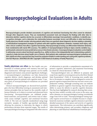 neuropsychological adult evaluation report