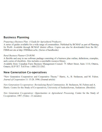 new co operative business plan