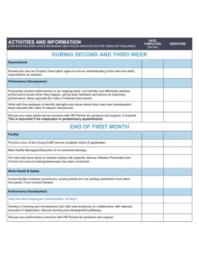 new employee beginning orientation checklist sample