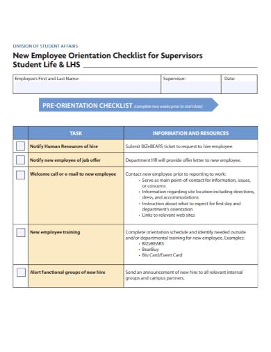 new employee orientation checklist for supervisors sample