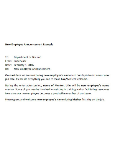 new hire announcement letter sample