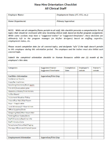 new hire orientation checklist of clinical staff sample