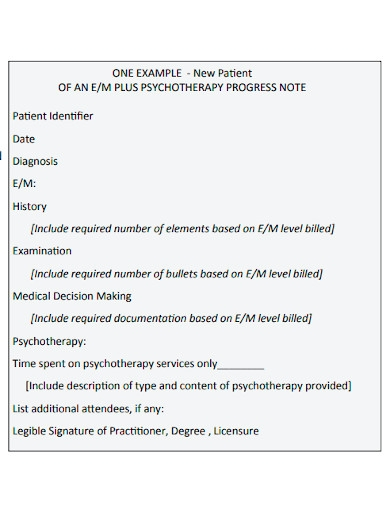 new patient psychotherapy progress note
