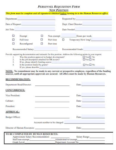 new position personnel requisition form sample