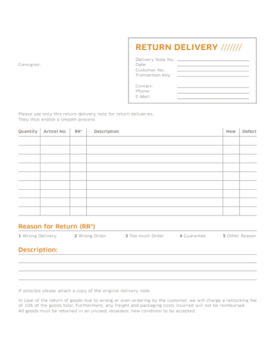 new return delivery note