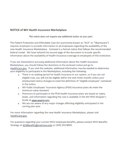 notice of health insurance marketplace