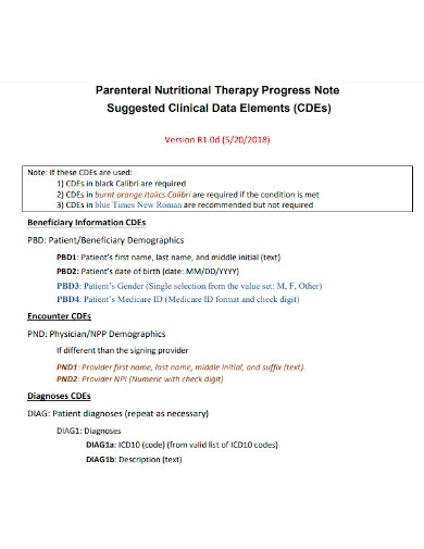 nutritional therapy progress note