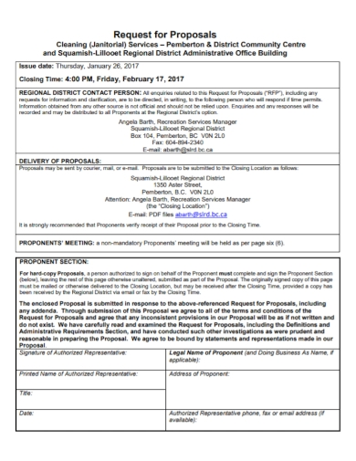 office building cleaning request for proposal