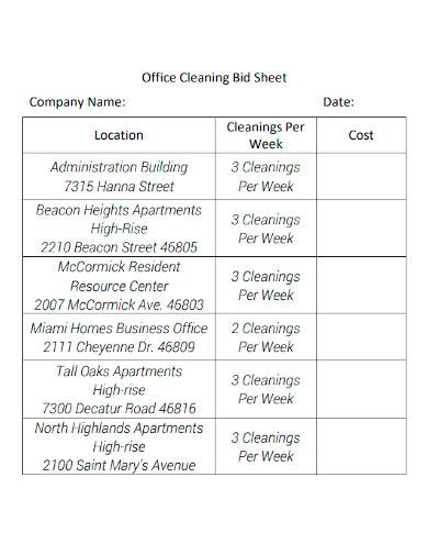 office cleaning bid sheet