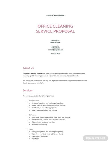 office cleaning service proposal template
