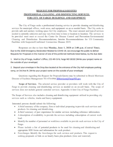 office cleaning services request for proposal
