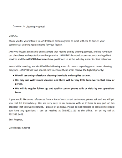 office commercial cleaning proposal