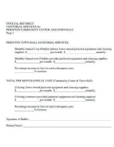 official cleaning bid sheet