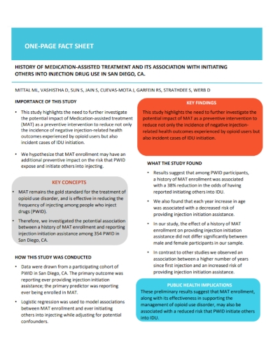 one page medication fact sheet