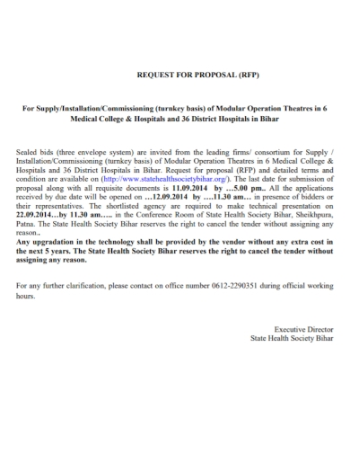 operation theatre request for proposal