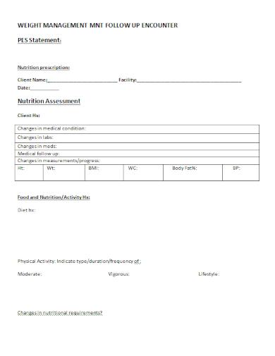 pes nutrition prescription statement