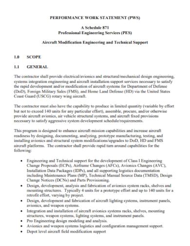 pes performance work statement