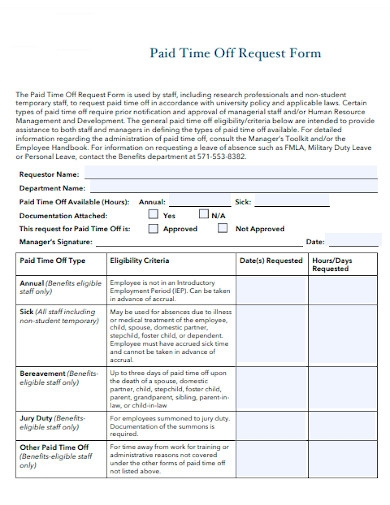 paid time off request form sample