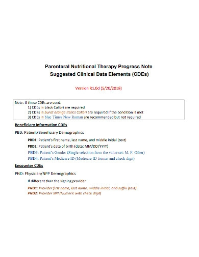 parenteral nutritional therapy progress note
