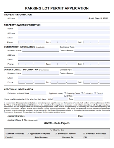 parking lot permit application of property sample