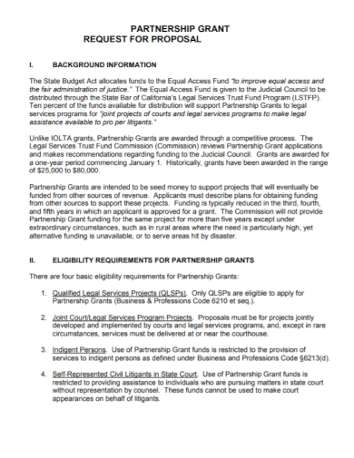 partnership grant request for proposal
