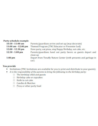 party event schedule and checklist