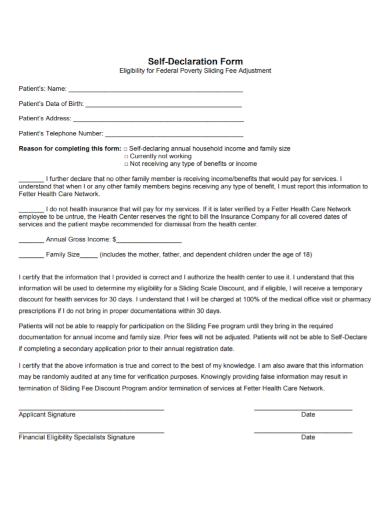 patient self declaration form