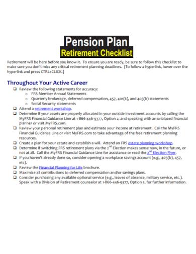 pension plan retirement checklist