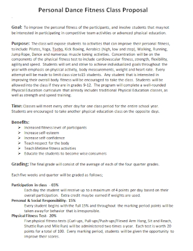 personal dance fitness class proposal