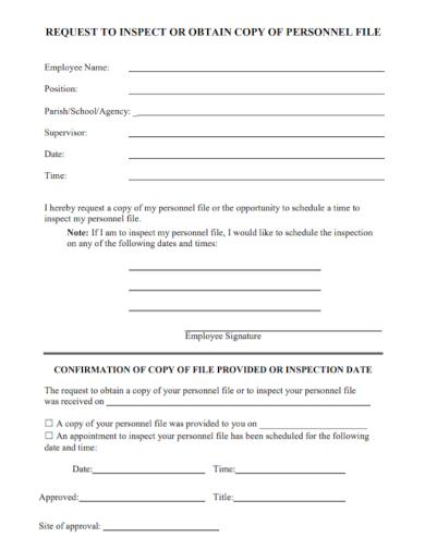 personnel file obtain inspection request