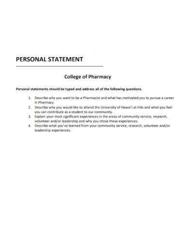 pharmacy college personal statement